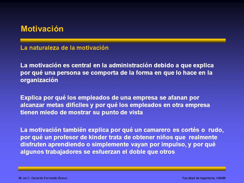 Facultad de Ingeniería, UNAMM. en C. Gerardo Ferrando Bravo Motivación La naturaleza de la motivación La motivación es central en la administración de
