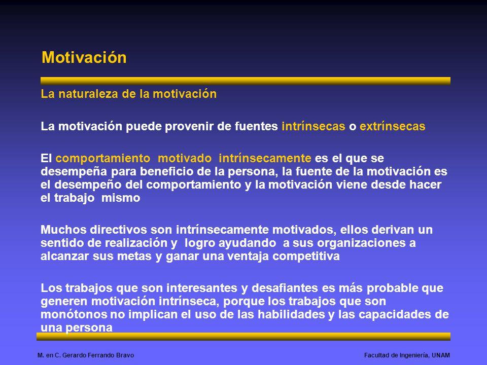 Facultad de Ingeniería, UNAMM. en C. Gerardo Ferrando Bravo Motivación La naturaleza de la motivación La motivación puede provenir de fuentes intrínse
