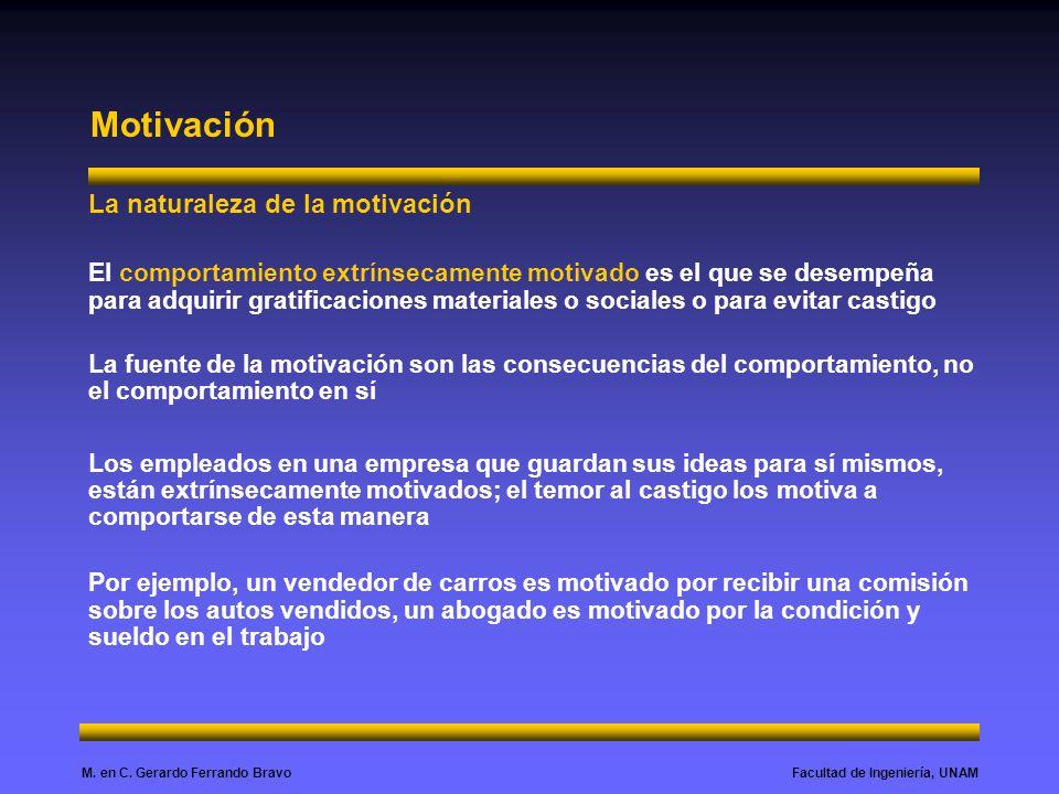 Facultad de Ingeniería, UNAMM. en C. Gerardo Ferrando Bravo Motivación La naturaleza de la motivación El comportamiento extrínsecamente motivado es el