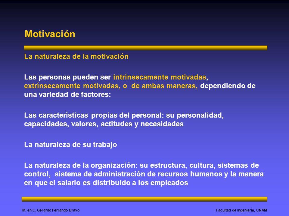 Facultad de Ingeniería, UNAMM. en C. Gerardo Ferrando Bravo Motivación La naturaleza de la motivación Las personas pueden ser intrínsecamente motivada