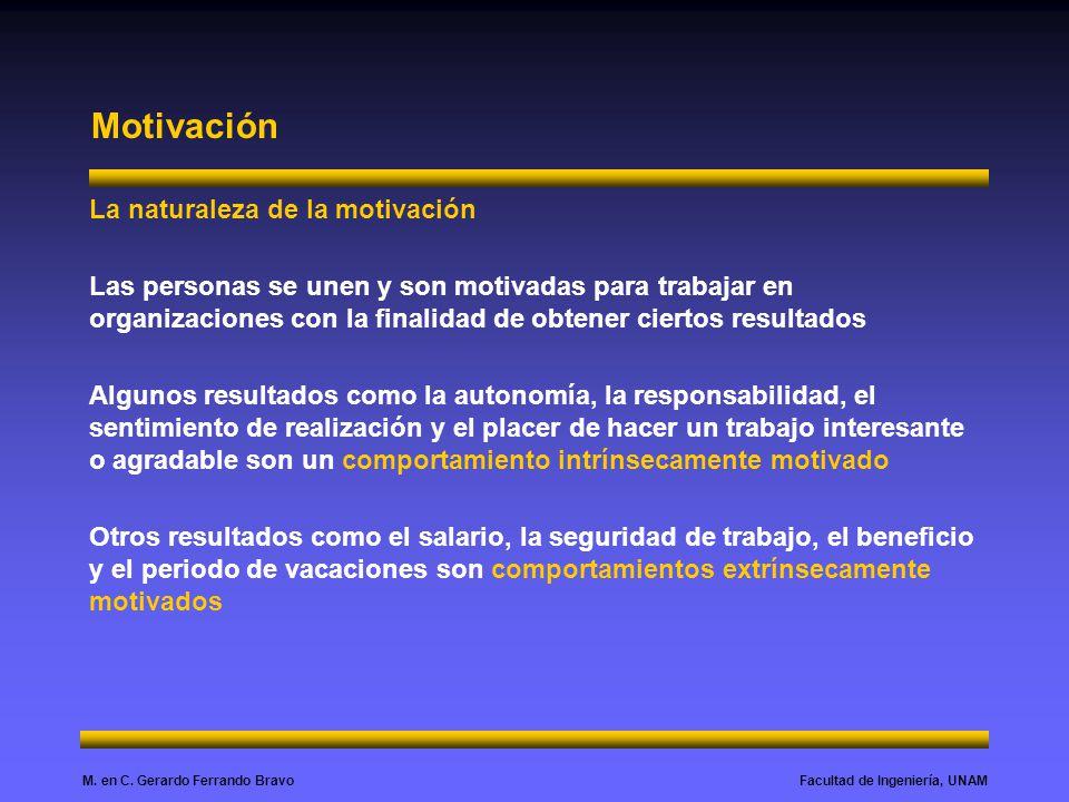 Facultad de Ingeniería, UNAMM. en C. Gerardo Ferrando Bravo Motivación La naturaleza de la motivación Las personas se unen y son motivadas para trabaj
