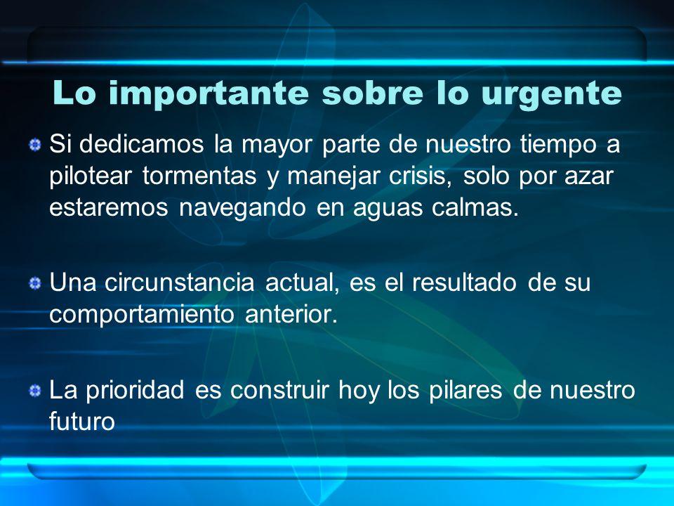 Lo importante sobre lo urgente Si dedicamos la mayor parte de nuestro tiempo a pilotear tormentas y manejar crisis, solo por azar estaremos navegando