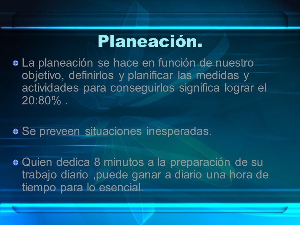 Planeación. La planeación se hace en función de nuestro objetivo, definirlos y planificar las medidas y actividades para conseguirlos significa lograr