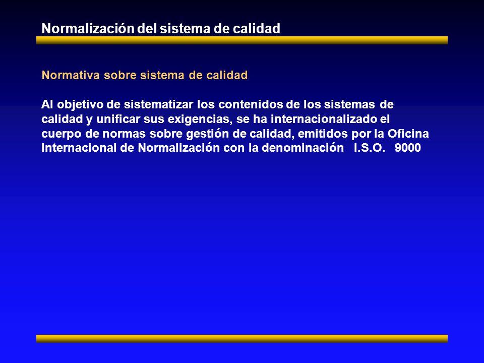Normativa sobre sistema de calidad Al objetivo de sistematizar los contenidos de los sistemas de calidad y unificar sus exigencias, se ha internacionalizado el cuerpo de normas sobre gestión de calidad, emitidos por la Oficina Internacional de Normalización con la denominación I.S.O.
