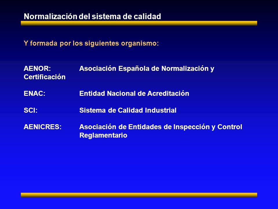 Normalización del sistema de calidad Y formada por los siguientes organismo: AENOR:Asociación Española de Normalización y Certificación ENAC:Entidad Nacional de Acreditación SCI:Sistema de Calidad Industrial AENICRES:Asociación de Entidades de Inspección y Control Reglamentario