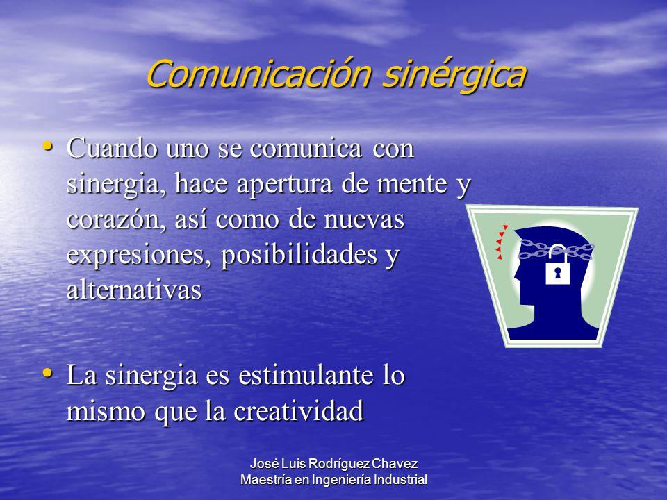 José Luis Rodríguez Chavez Maestría en Ingeniería Industrial Comunicación sinérgica Cuando uno se comunica con sinergia, hace apertura de mente y cora