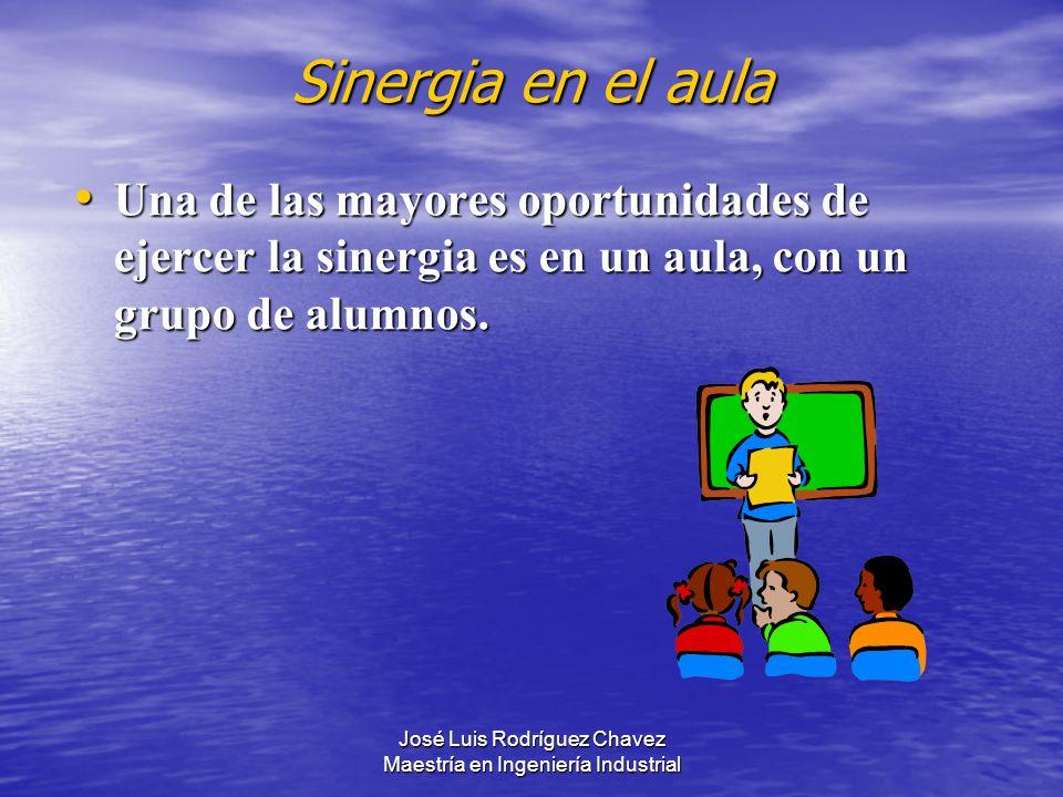José Luis Rodríguez Chavez Maestría en Ingeniería Industrial Sinergia en el aula Una de las mayores oportunidades de ejercer la sinergia es en un aula