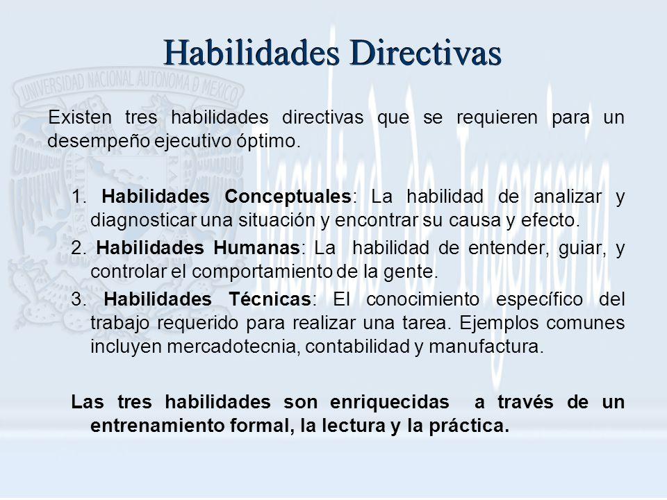 Habilidades Directivas Existen tres habilidades directivas que se requieren para un desempeño ejecutivo óptimo. 1. Habilidades Conceptuales: La habili