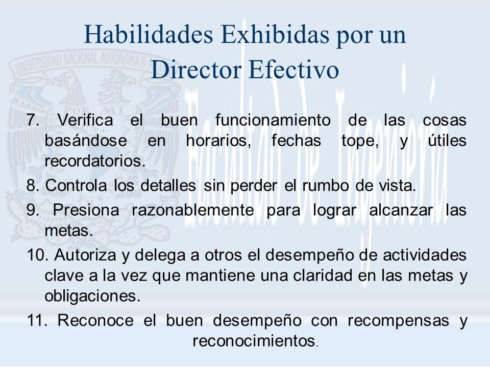 Habilidades Exhibidas por un Director Efectivo 7. Verifica el buen funcionamiento de las cosas basándose en horarios, fechas tope, y útiles recordator