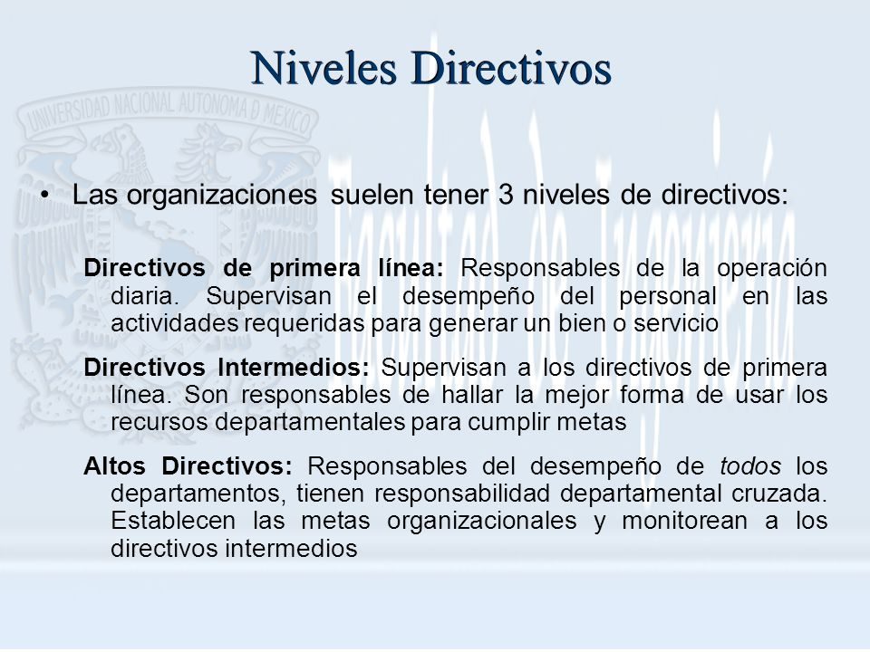 Niveles Directivos Las organizaciones suelen tener 3 niveles de directivos: Directivos de primera línea: Responsables de la operación diaria. Supervis