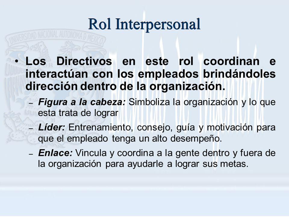 Rol Interpersonal Los Directivos en este rol coordinan e interactúan con los empleados brindándoles dirección dentro de la organización. – Figura a la