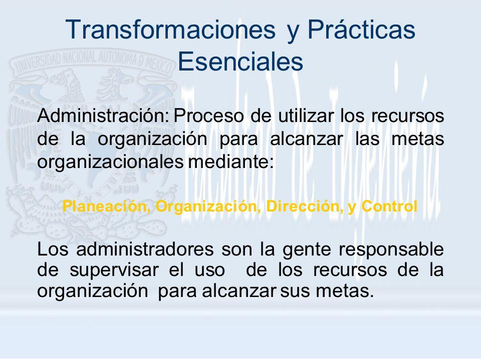 Transformaciones y Prácticas Esenciales Administración: Proceso de utilizar los recursos de la organización para alcanzar las metas organizacionales m