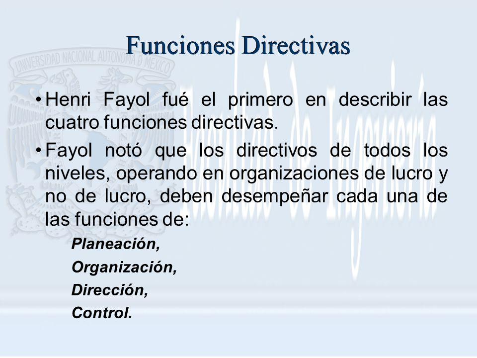 Funciones Directivas Henri Fayol fué el primero en describir las cuatro funciones directivas. Fayol notó que los directivos de todos los niveles, oper