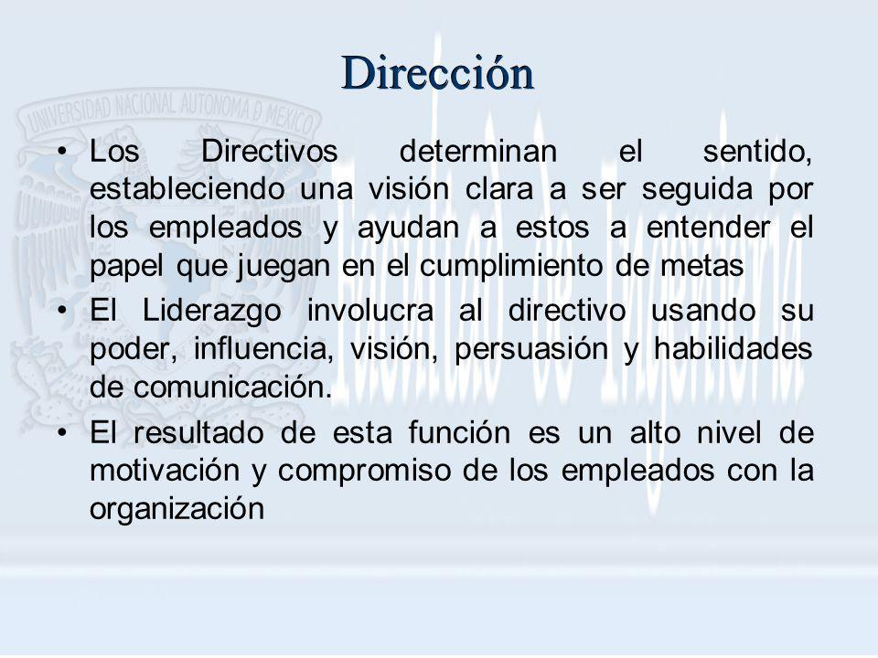 Dirección Los Directivos determinan el sentido, estableciendo una visión clara a ser seguida por los empleados y ayudan a estos a entender el papel qu