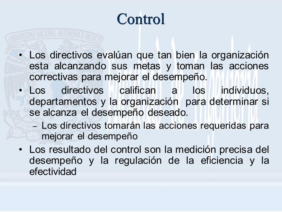 Control Los directivos evalúan que tan bien la organización esta alcanzando sus metas y toman las acciones correctivas para mejorar el desempeño. Los