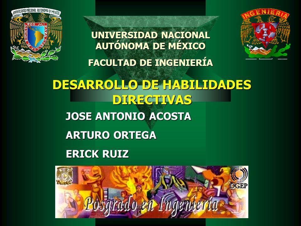 DESARROLLO DE HABILIDADES DIRECTIVAS JOSE ANTONIO ACOSTA ARTURO ORTEGA ERICK RUIZ UNIVERSIDAD NACIONAL AUTÓNOMA DE MÉXICO FACULTAD DE INGENIERÍA