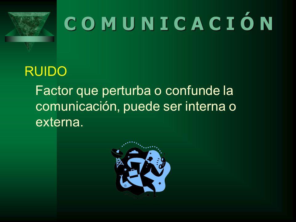 RUIDO Factor que perturba o confunde la comunicación, puede ser interna o externa.