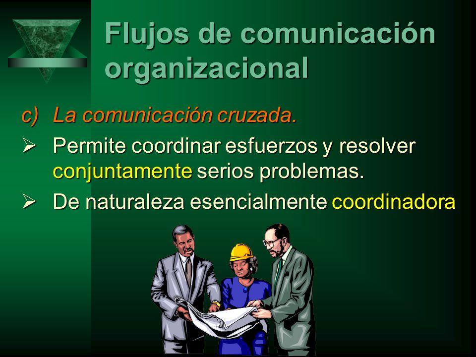 c)La comunicación cruzada.Permite coordinar esfuerzos y resolver conjuntamente serios problemas.