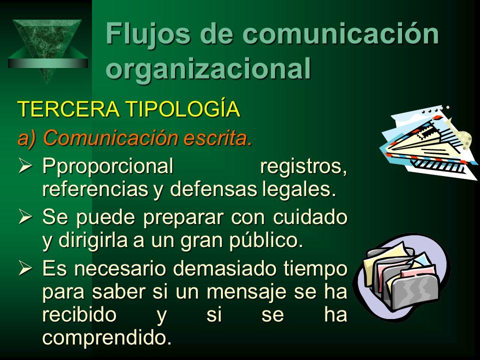 TERCERA TIPOLOGÍA a)Comunicación escrita.Pproporcional registros, referencias y defensas legales.