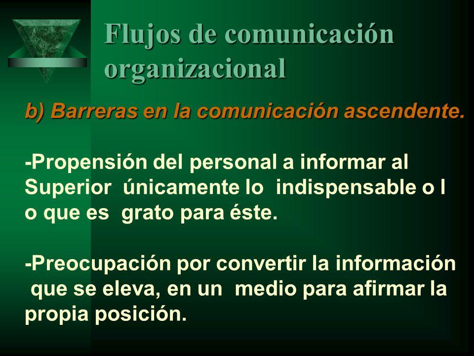 Flujos de comunicación organizacional b) Barreras en la comunicación ascendente.