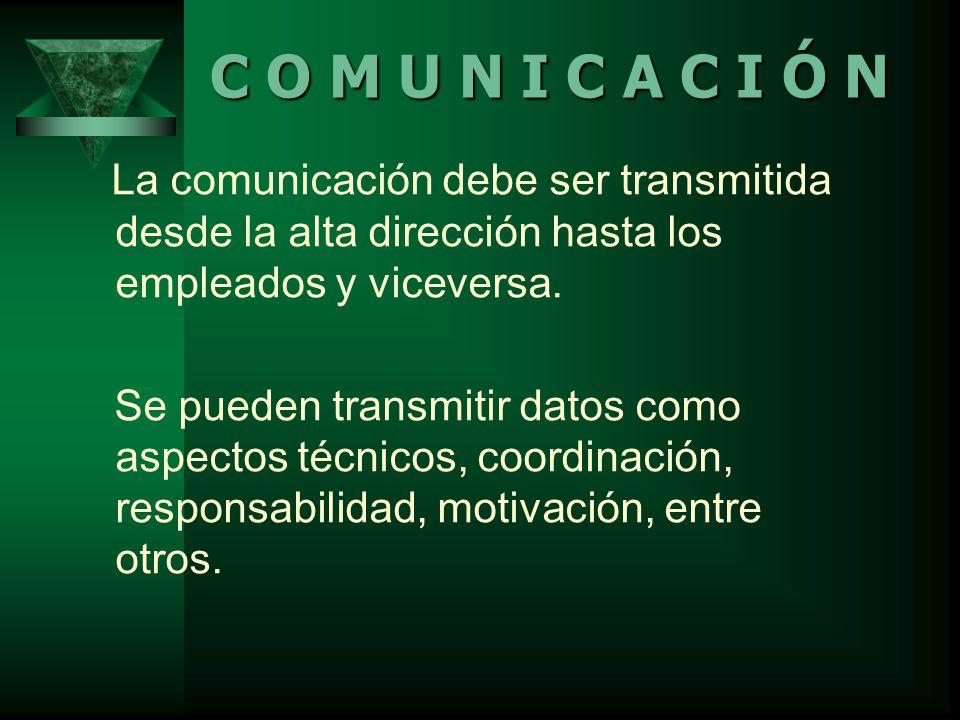 La comunicación debe ser transmitida desde la alta dirección hasta los empleados y viceversa.