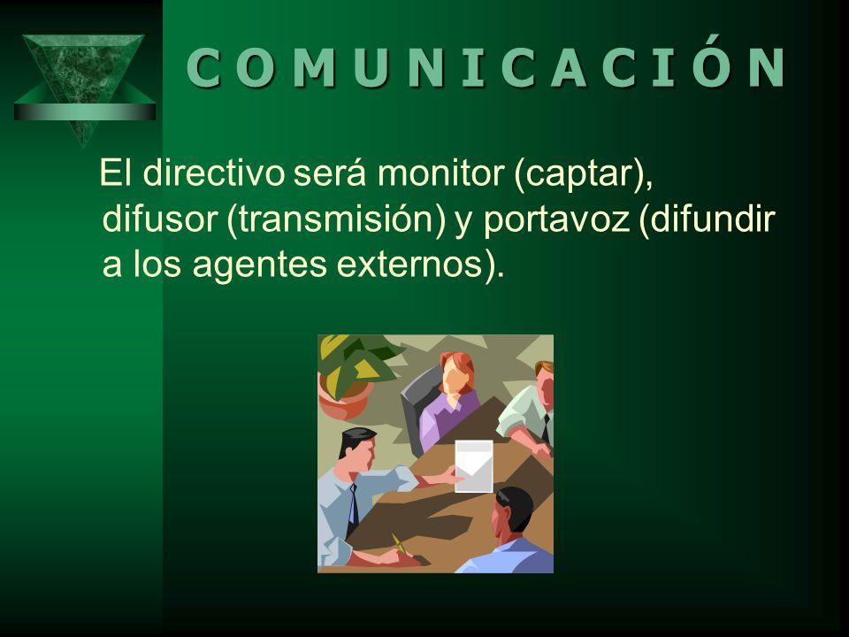 El directivo será monitor (captar), difusor (transmisión) y portavoz (difundir a los agentes externos).