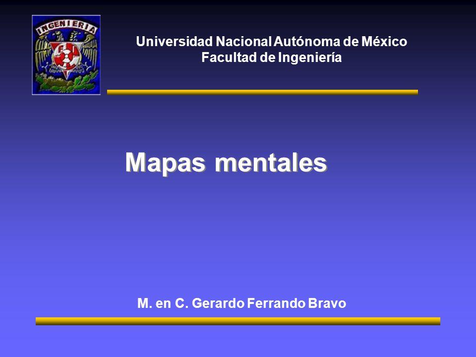 Universidad Nacional Autónoma de México Facultad de Ingeniería Mapas mentales M. en C. Gerardo Ferrando Bravo