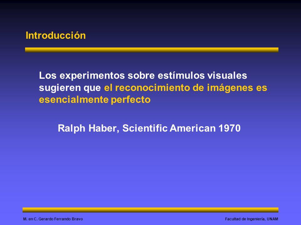 Facultad de Ingeniería, UNAMM. en C. Gerardo Ferrando Bravo Introducción Los experimentos sobre estímulos visuales sugieren que el reconocimiento de i