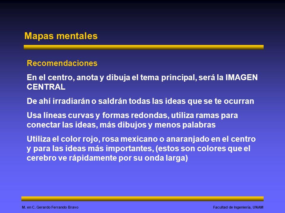 Facultad de Ingeniería, UNAMM. en C. Gerardo Ferrando Bravo Mapas mentales Recomendaciones En el centro, anota y dibuja el tema principal, será la IMA