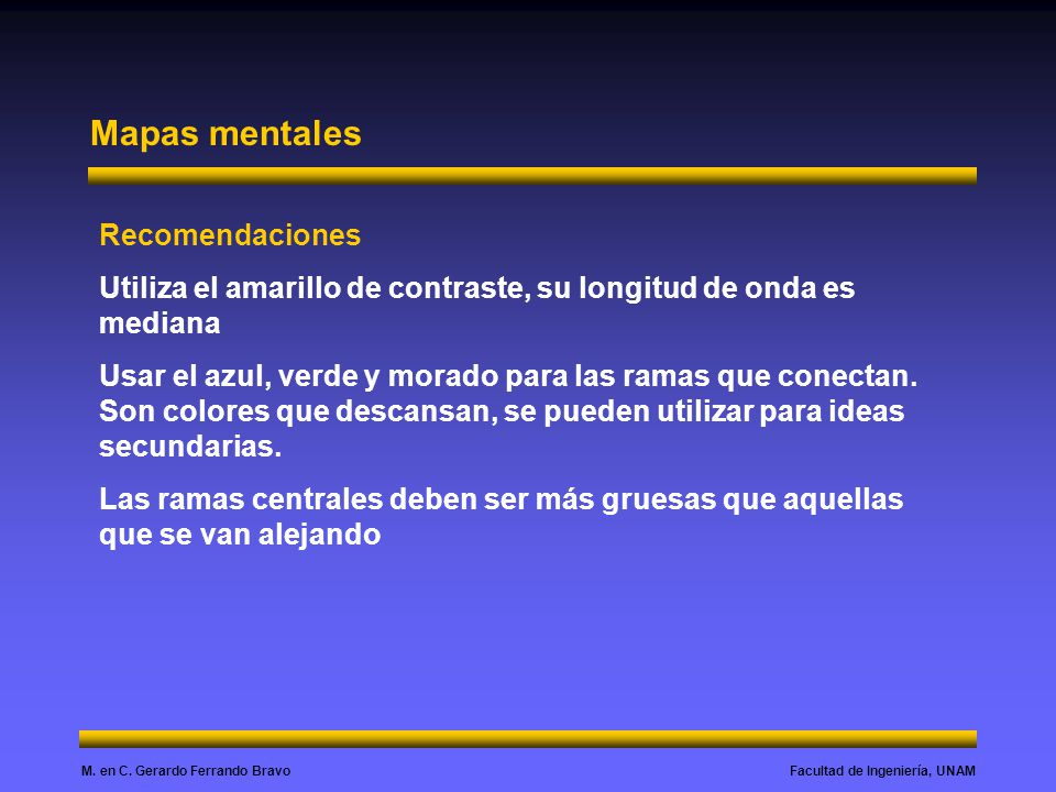 Facultad de Ingeniería, UNAMM. en C. Gerardo Ferrando Bravo Mapas mentales Recomendaciones Utiliza el amarillo de contraste, su longitud de onda es me