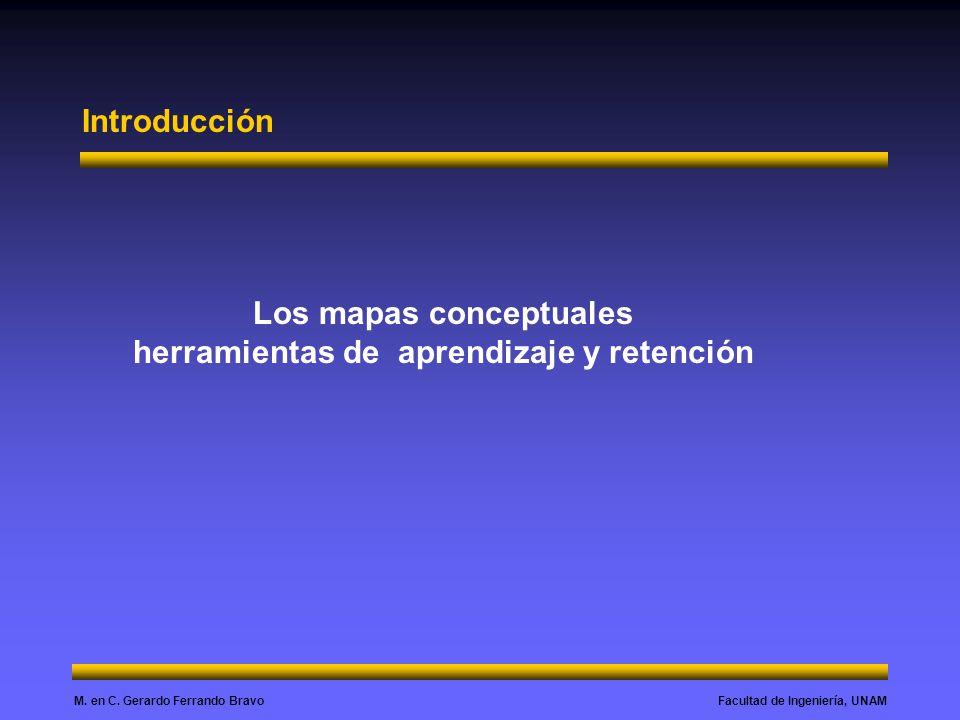 Facultad de Ingeniería, UNAMM. en C. Gerardo Ferrando Bravo Introducción Los mapas conceptuales herramientas de aprendizaje y retención