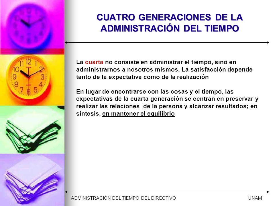 CUATRO GENERACIONES DE LA ADMINISTRACIÓN DEL TIEMPO La cuarta no consiste en administrar el tiempo, sino en administrarnos a nosotros mismos. La satis