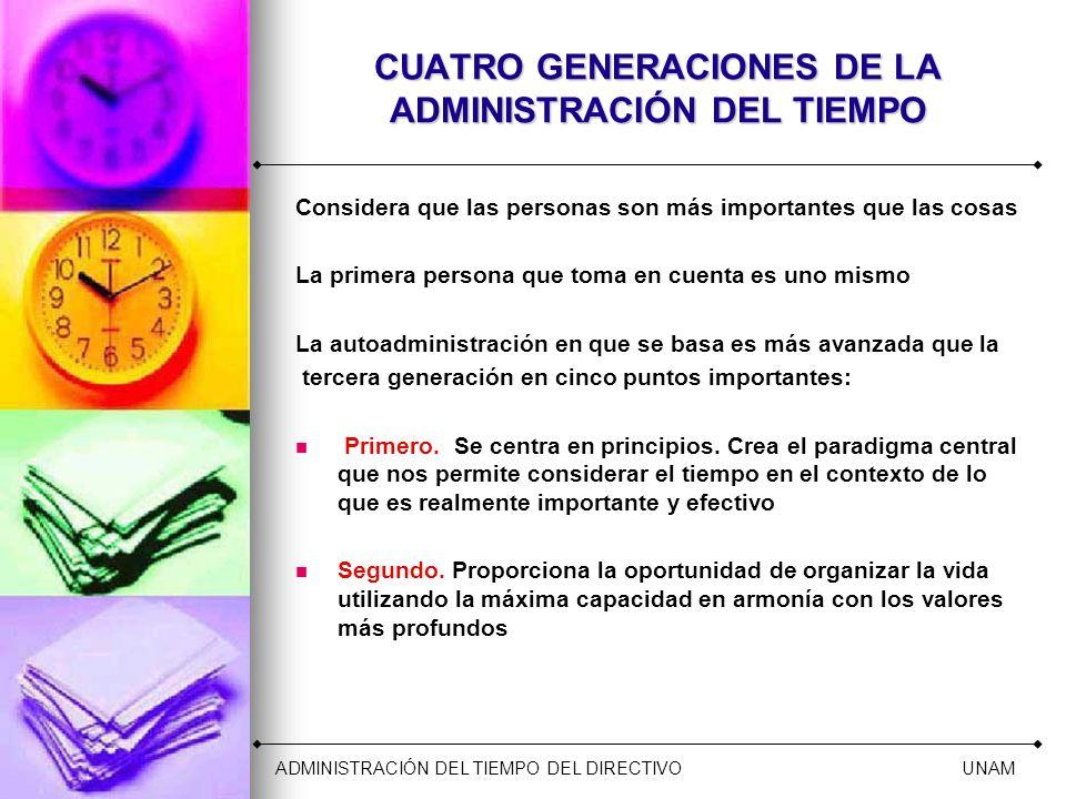 CUATRO GENERACIONES DE LA ADMINISTRACIÓN DEL TIEMPO Considera que las personas son más importantes que las cosas La primera persona que toma en cuenta