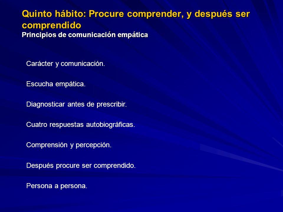 Quinto hábito: Procure comprender, y después ser comprendido Principios de comunicación empática Carácter y comunicación. Escucha empática. Diagnostic