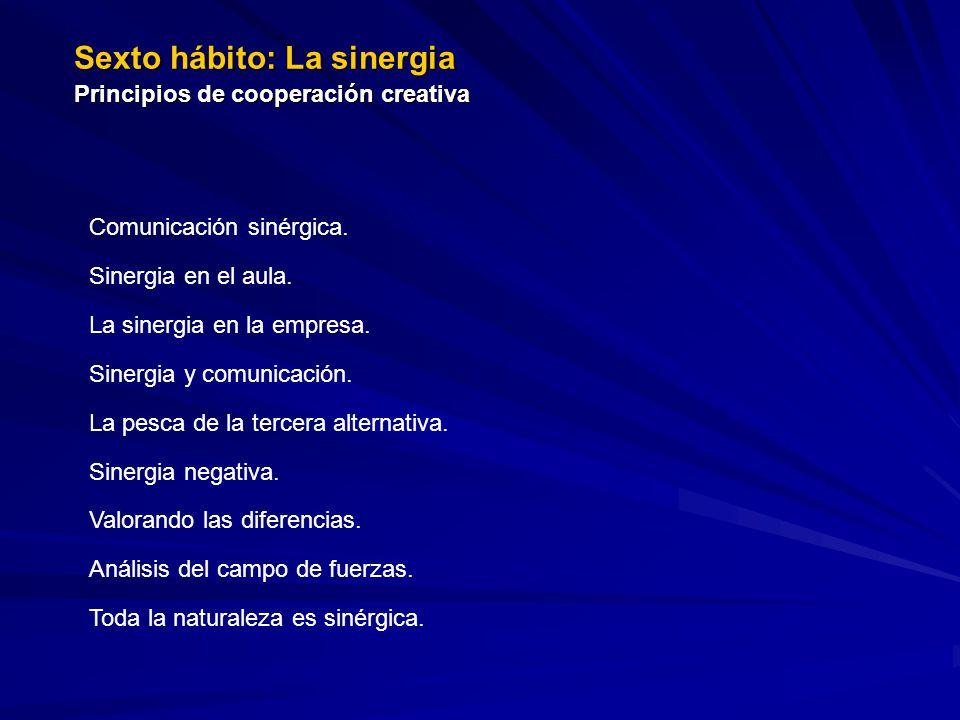 Sexto hábito: La sinergia Principios de cooperación creativa Comunicación sinérgica. Sinergia en el aula. La sinergia en la empresa. Sinergia y comuni