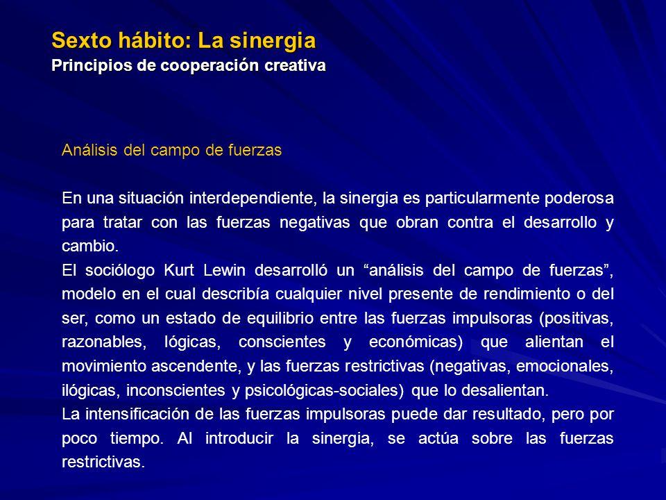 Sexto hábito: La sinergia Principios de cooperación creativa Análisis del campo de fuerzas En una situación interdependiente, la sinergia es particula