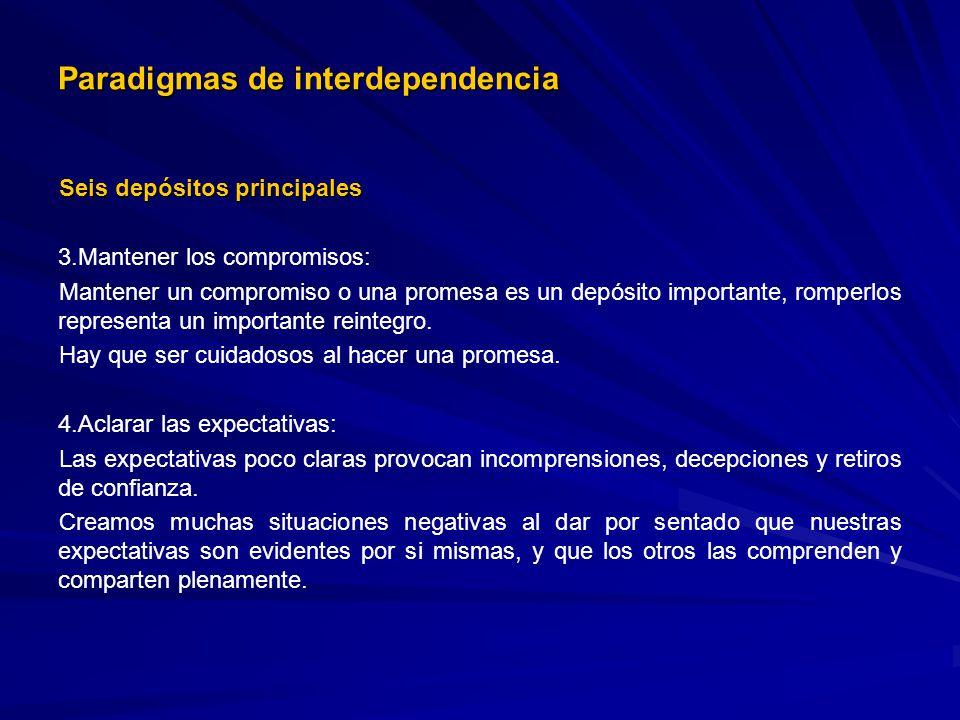 Paradigmas de interdependencia Seis depósitos principales 3. 3.Mantener los compromisos: Mantener un compromiso o una promesa es un depósito important