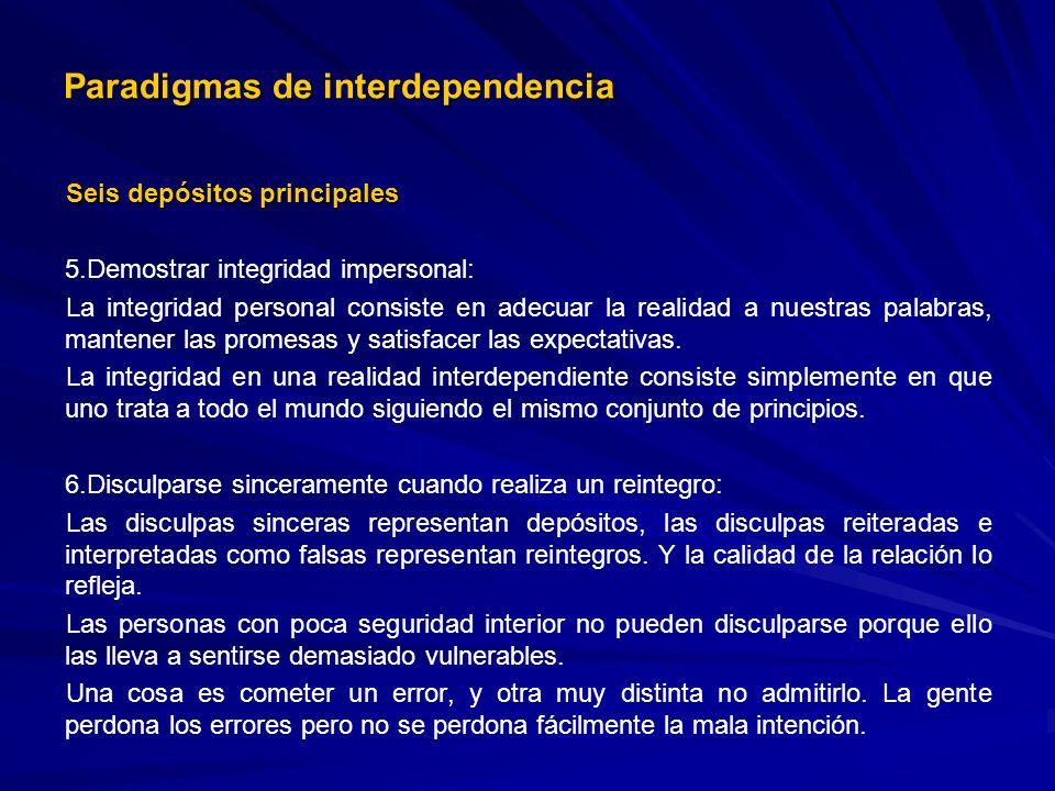 Paradigmas de interdependencia Seis depósitos principales 5. 5.Demostrar integridad impersonal: La integridad personal consiste en adecuar la realidad