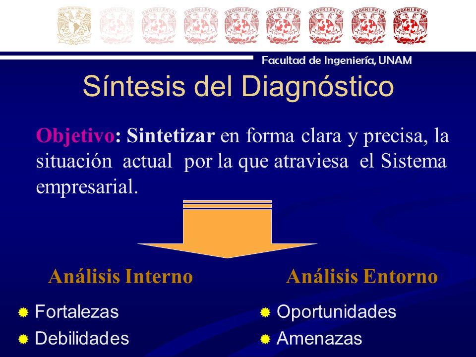 Facultad de Ingeniería, UNAM Síntesis del Diagnóstico Fortalezas Debilidades Oportunidades Amenazas Análisis InternoAnálisis Entorno Objetivo: Sinteti