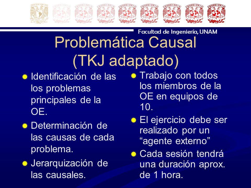 Facultad de Ingeniería, UNAM Problemática Causal (TKJ adaptado) Identificación de las los problemas principales de la OE. Determinación de las causas