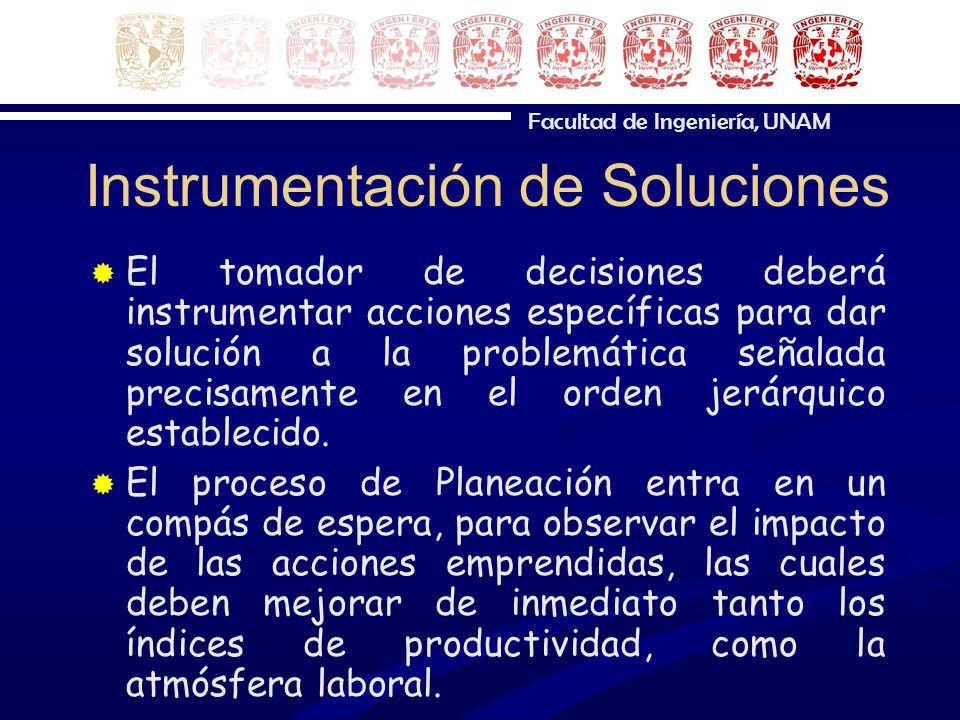 Facultad de Ingeniería, UNAM Instrumentación de Soluciones El tomador de decisiones deberá instrumentar acciones específicas para dar solución a la pr