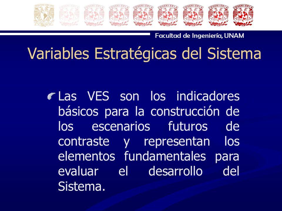 Facultad de Ingeniería, UNAM Variables Estratégicas del Sistema Las VES son los indicadores básicos para la construcción de los escenarios futuros de