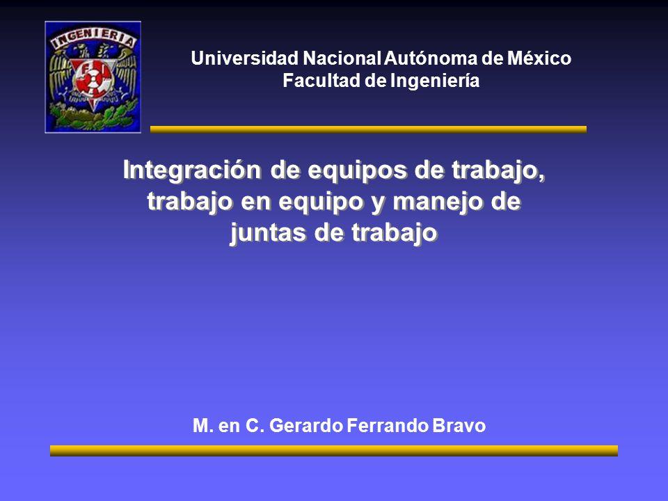 Universidad Nacional Autónoma de México Facultad de Ingeniería Integración de equipos de trabajo, trabajo en equipo y manejo de juntas de trabajo M.