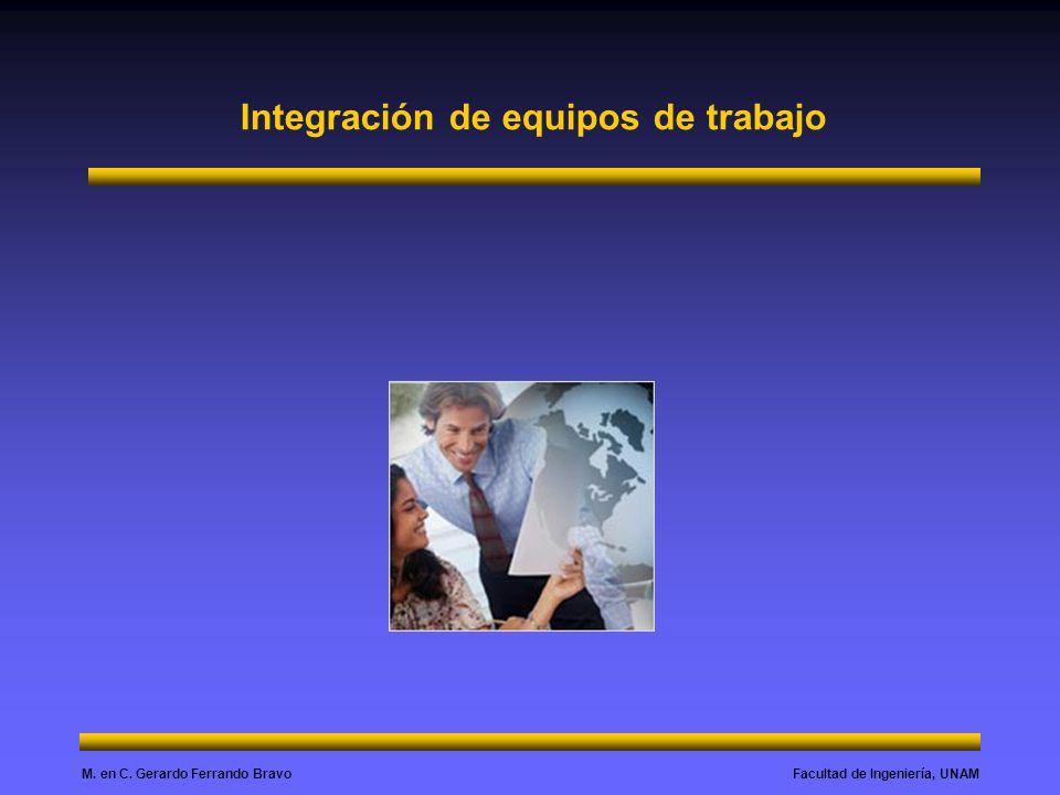 Facultad de Ingeniería, UNAMM. en C. Gerardo Ferrando Bravo Integración de equipos de trabajo