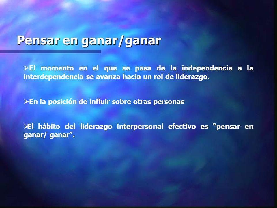 Pensar en ganar/ganar El momento en el que se pasa de la independencia a la interdependencia se avanza hacia un rol de liderazgo. En la posición de in