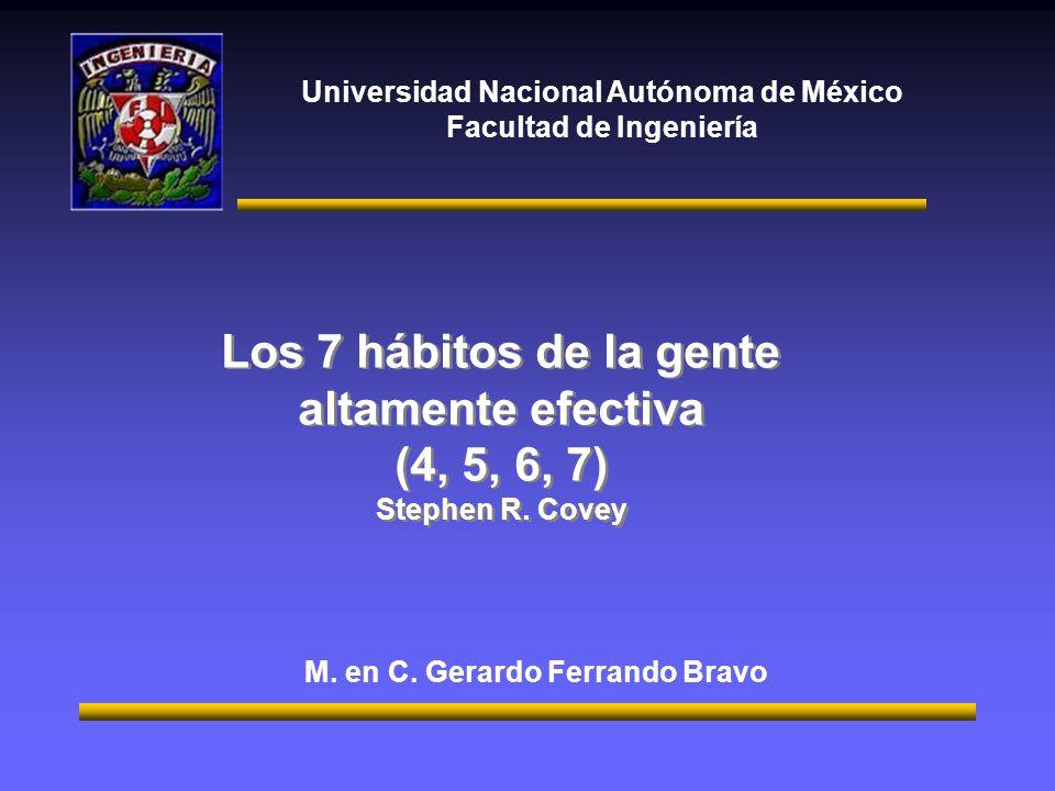 Universidad Nacional Autónoma de México Facultad de Ingeniería Los 7 hábitos de la gente altamente efectiva (4, 5, 6, 7) Stephen R. Covey Los 7 hábito
