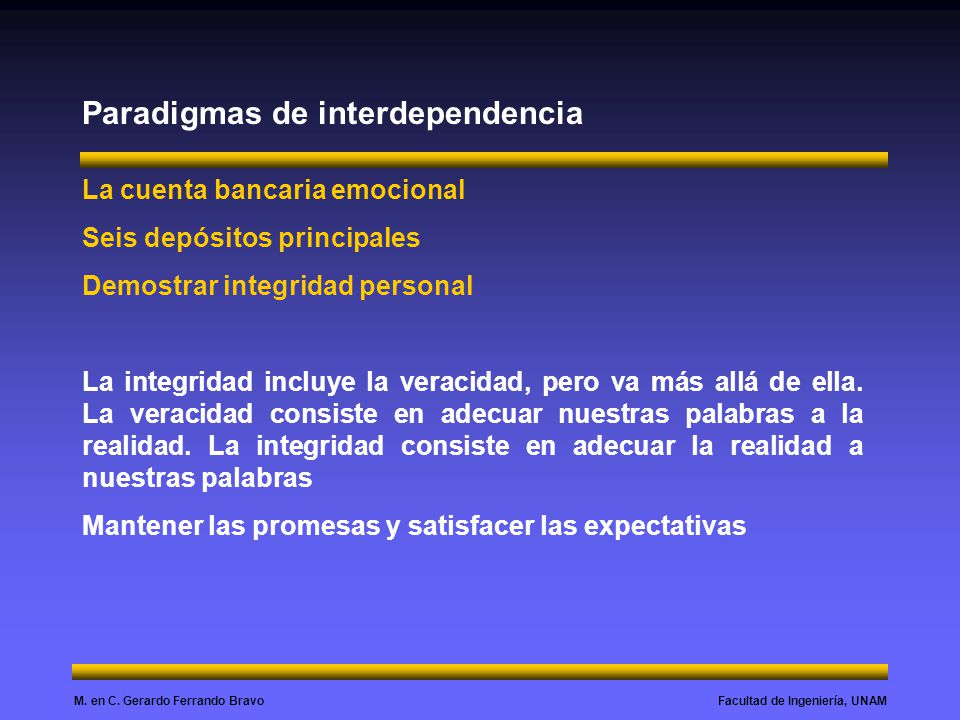 Facultad de Ingeniería, UNAMM. en C. Gerardo Ferrando Bravo Paradigmas de interdependencia La cuenta bancaria emocional Seis depósitos principales Dem
