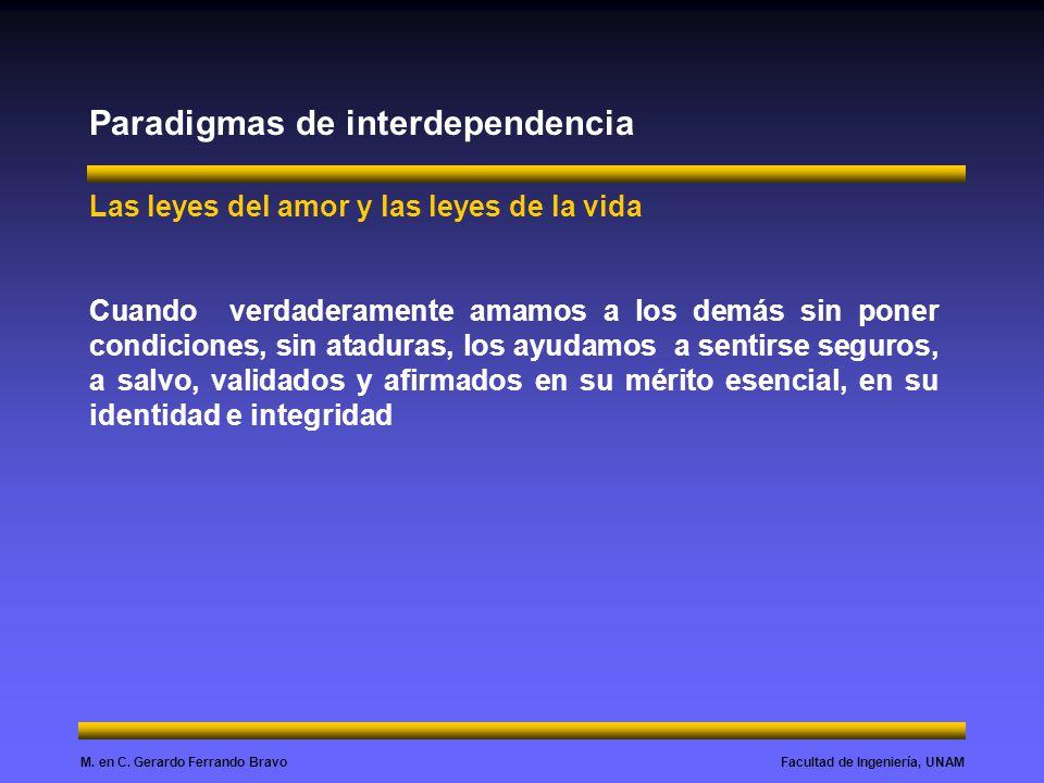 Facultad de Ingeniería, UNAMM. en C. Gerardo Ferrando Bravo Paradigmas de interdependencia Las leyes del amor y las leyes de la vida Cuando verdaderam