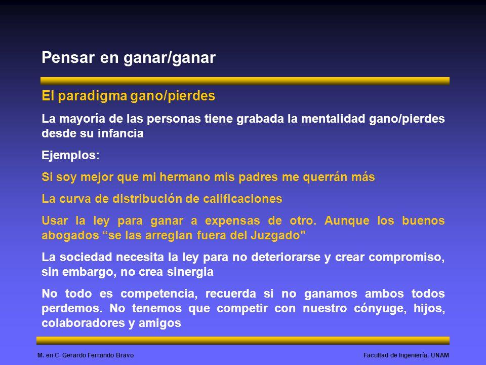 Facultad de Ingeniería, UNAMM. en C. Gerardo Ferrando Bravo Pensar en ganar/ganar El paradigma gano/pierdes La mayoría de las personas tiene grabada l