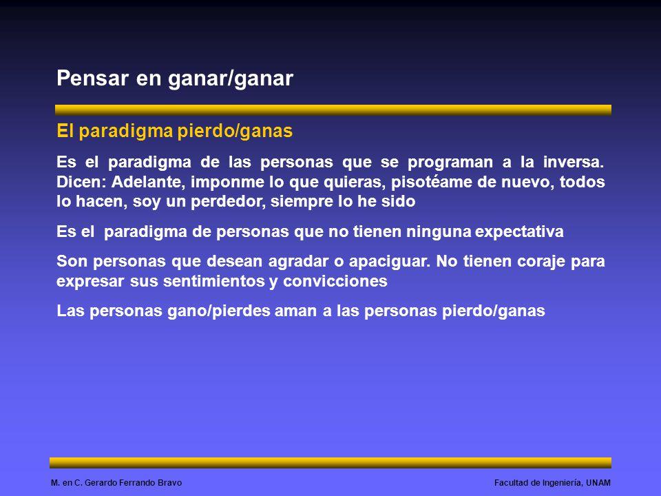 Facultad de Ingeniería, UNAMM. en C. Gerardo Ferrando Bravo Pensar en ganar/ganar El paradigma pierdo/ganas Es el paradigma de las personas que se pro